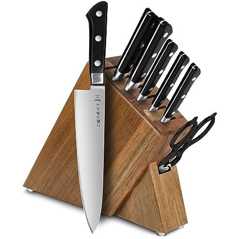 Amazon.com: Tojiro DP 8-Piece Slim bloque de cuchillos Set ...