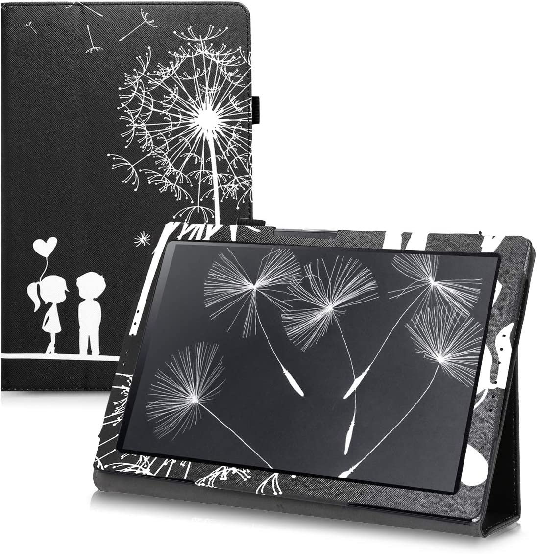 kwmobile Case Compatible with Acer Iconia One 10 (B3-A40) - Slim PU Leather Tablet Cover with Stand Feature - Dandelion Love White/Black