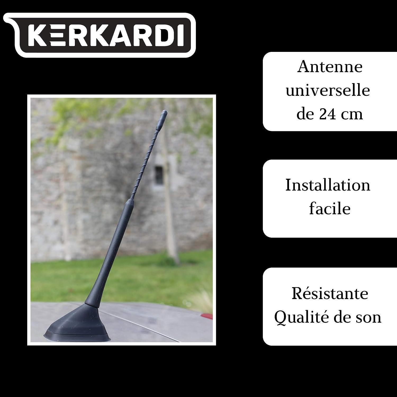 KERKARDI - Antena universal para automóvil, punta de antena de radio para automóvil, antena de techo, antena pequeña de 24 cm con 3 hilos M4 M5 M6 ...