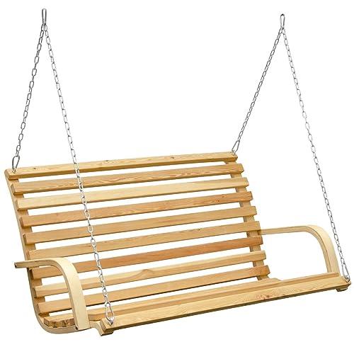 Banc pour Balancelle de jardin 3 personnes en Bois de Mélèze inc. chaînes robustes et crochets idéal pour l´intérieur et extérieur de votre maison conçu pour être accroché dans un support (non compris)