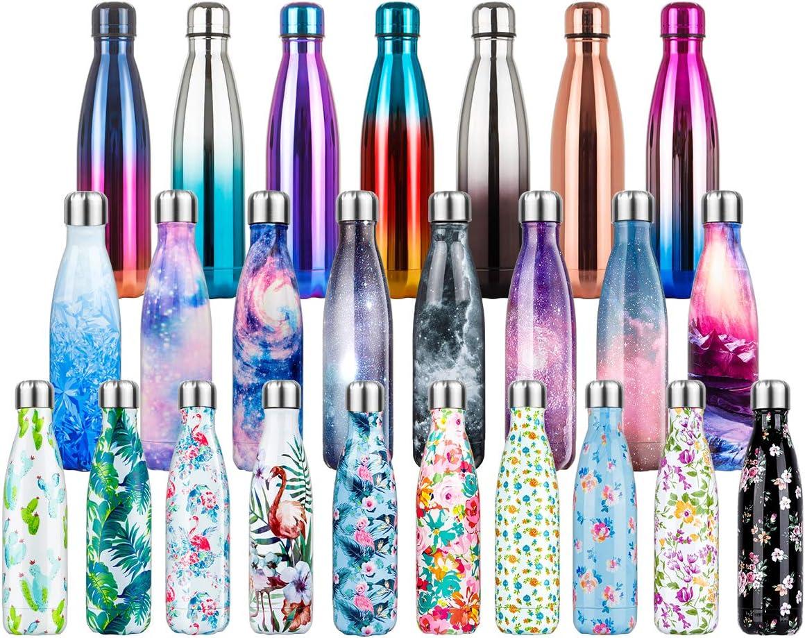 500ml Botella de Agua de Acero Inoxidable Botella Termica, Botella Sin Bpa & Eco Friendly, Mantiene Bebidas frías por 24h y Calientes por 12h, Adecuada para Viaje, Deporte, Bicicleta, Gimnasio