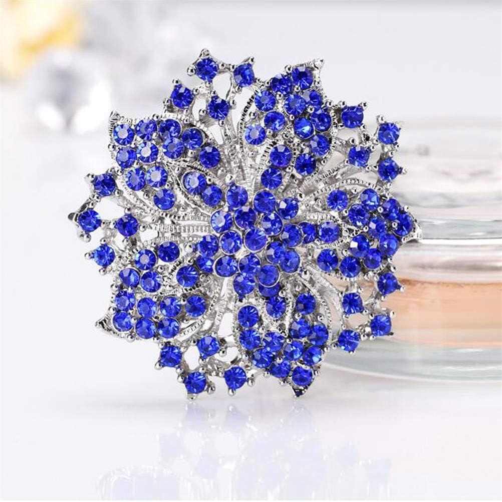JIFNCR Unisex Emaille Brosche mit Kristall Retro Blaue Blume geformt Kragen Revers Pins Abzeichen Kleidung Rucksack Ornament Geschenk Retro Brust Pin Festival Party Decor blau