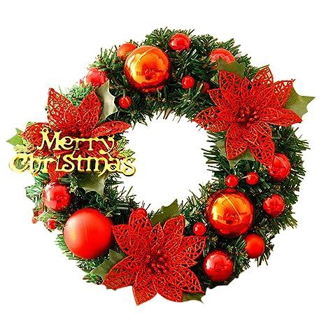 yikaya 30cm christmas wreaths for front door outdoor windows flowers decoration