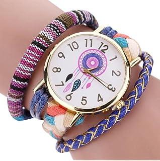 2db24cd6e8cd Sannysis Dreamcatcher Amistad Pulsera Relojes vestido de las mujeres del  reloj de la trenza (Azul