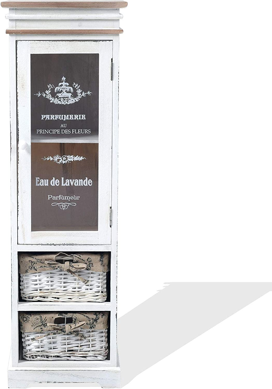 Rebecca Mobili Vitrina Blanca, gabinete con 1 Puerta, 2 cajones, Madera Mimbre, Estilo Shabby, Entrada baño hogar - Medidas: 102 x 32 x 27 cm (AxANxF) - Art. RE4486