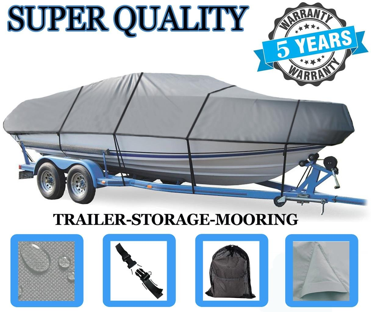 Boat Cover for Tracker PRO DEEP V-16 Tiller Model O/B 1989-1990 Heavy-Duty by SBU