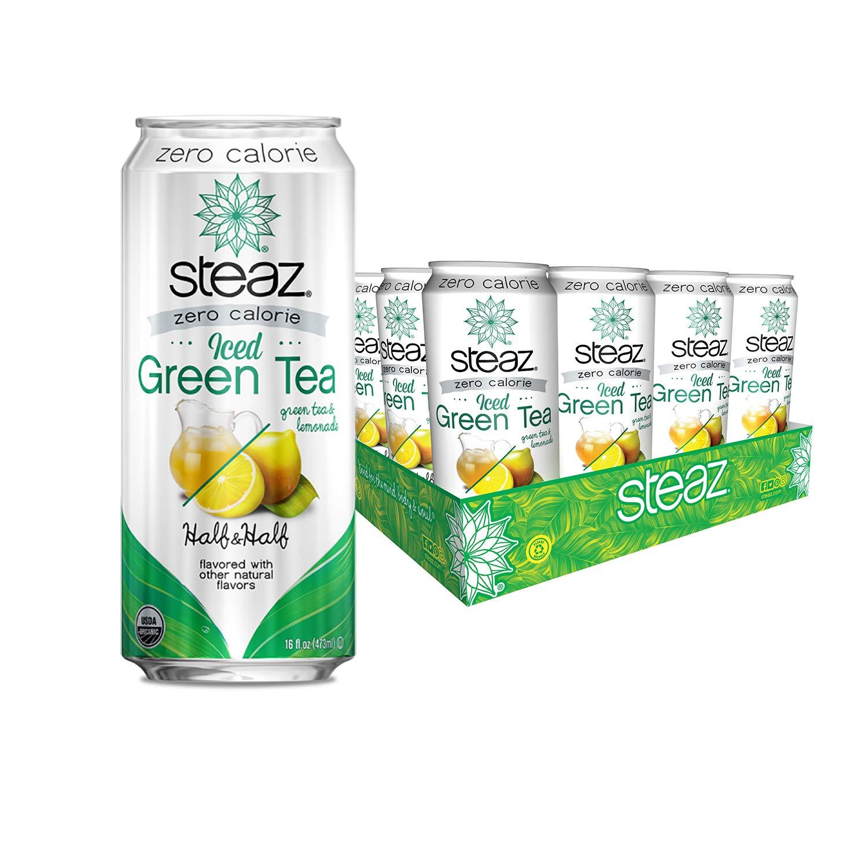 Steaz Organic Zero Calorie Half Iced Green Tea & Half Lemonade, 16 OZ (Pack of 12) by Steaz
