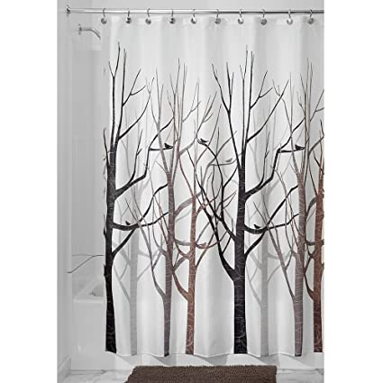 Shower Curtain Tree Forest Bird Black Grey Brown Fabric 72quot