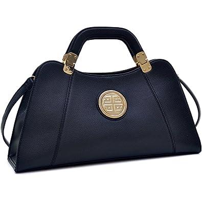eef7514e64902d Amazon.com: Dasein Flat Bottom Emblem A-Symmetrical Handbag Designer  Shoulder Bag w/Removable Shoulder Strap (black-new): Shoes