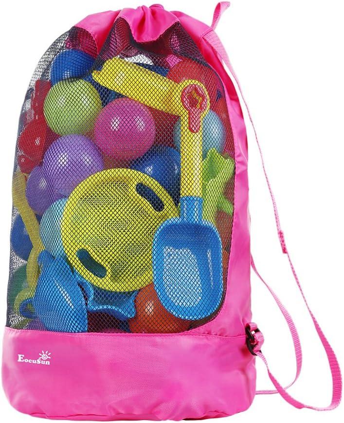 Eocusun Bolsa de Juguetes para la Playa, Bolsa de Malla Grande Bolsas de Almacenamiento para Niños Juguetes con Cordón Durable Mochila para Nadar y Bolsa de Piscina Paquetes (Rosa Fuerte)