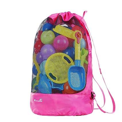 Eocusun Bolsa de Juguetes para la Playa, Bolsa de Malla Grande Bolsas de Almacenamiento para Niños Juguetes con Cordón Durable Mochila para Nadar y ...
