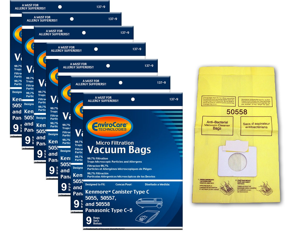 EnviroCare Replacement Vacuum Bags for Kenmore Canister Type C or Q 50555, 50558, 50557 and Panasonic Type C-5 63 Bags 137-63