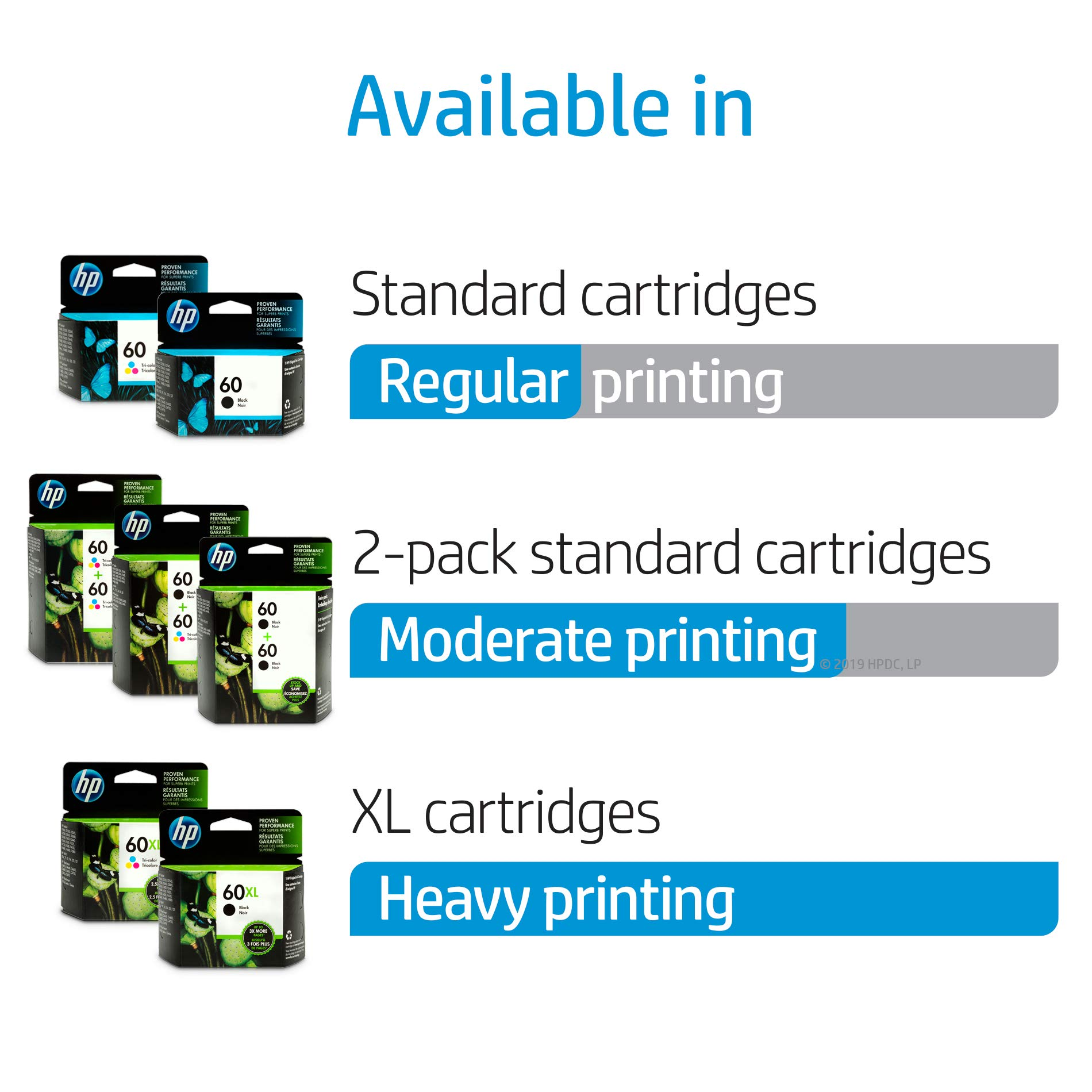 HP 60 Black Ink Cartridge (CC640WN), 2 Cartridges (CZ071FN