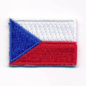 Bk18 REPUBBLICA CECA Bandiera piccoli Czech Republic ricamate STAFFA immagine Patch 4,5 x 3 cm