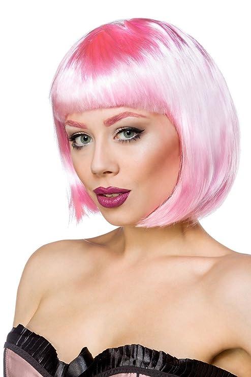 Sexy Bob peluca peluca Bob Mujer Fasching Pony pelucas de pelo corto corta BUBI cabeza rosa