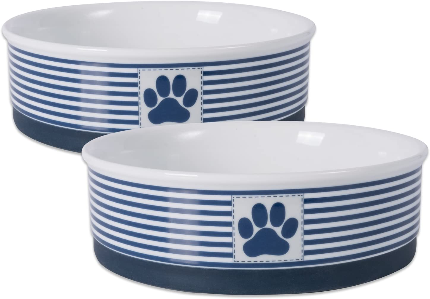 Bone Dry Paw Patch & Stripes Ceramic Pet Bowl & Canister Collection