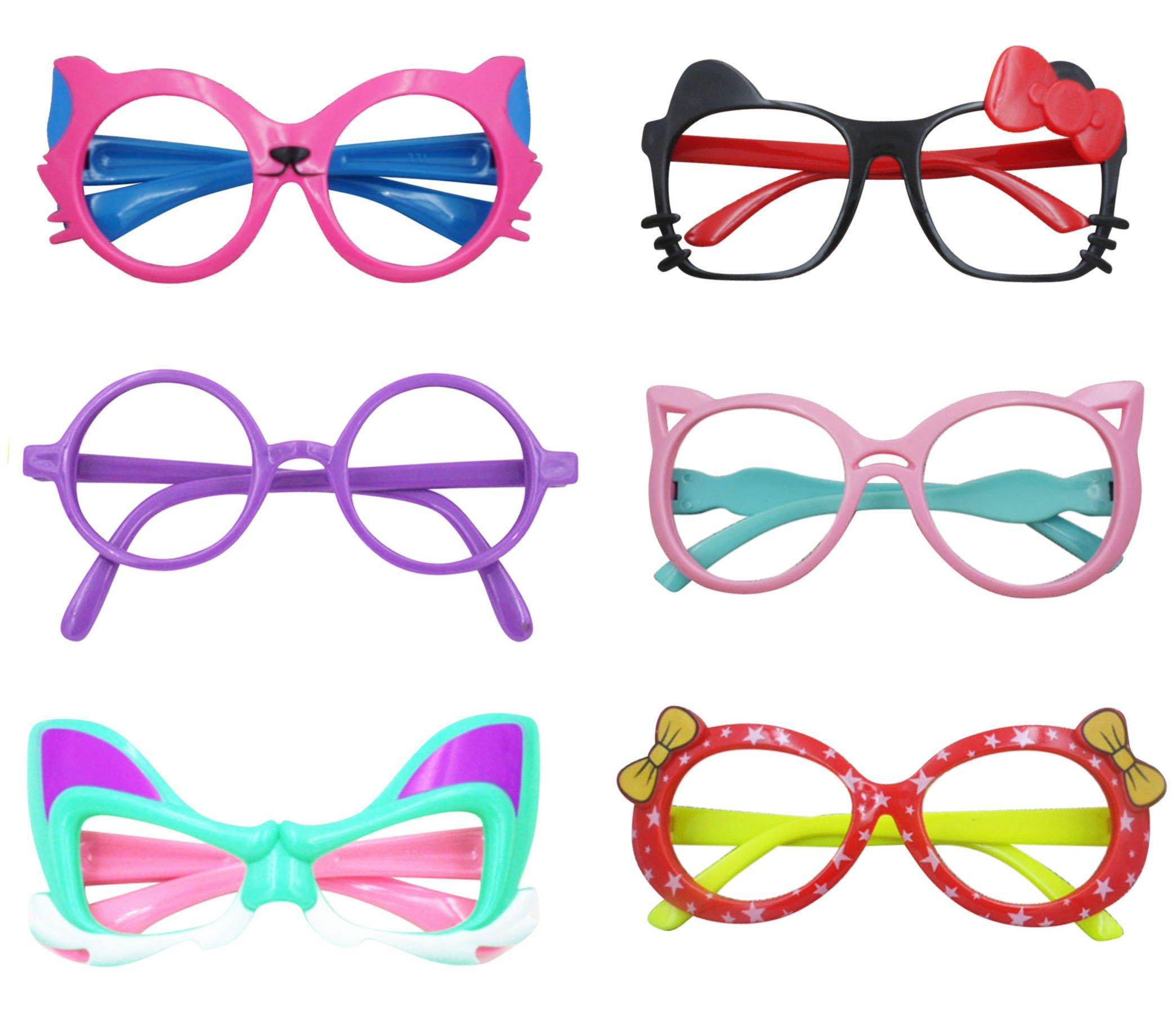 Eye Glasses for Children Kids Boys Girls Stylish Cute Frame Without Lenses, Pack of 6 (Combo #4)