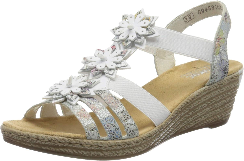 Rieker Women's Frühjahr/Sommer Closed Toe Sandals, White (Ice-Multi/Weiss 91), 6 UK