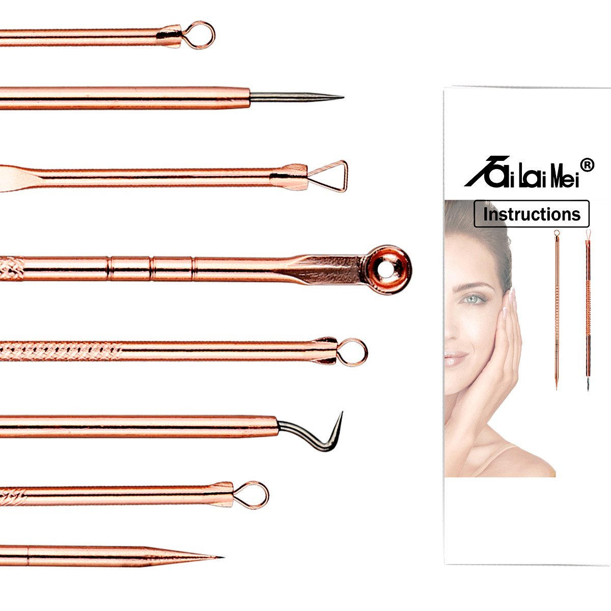 TailaiMei Blackhead Remover Kit, Comedone Extractor Tool Set for Facial Zit Popping, Anti-microbial Double-side 4 Pieces, Treatment for Acne, Blemishes, Whiteheads, Pimples (Rose Gold)