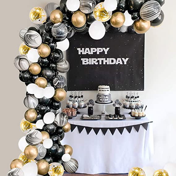 125pcsset Latex White Black Balloons Garland Kit 4D GOLD Balloon Garland Wedding Engagement 1st Birthday Decor