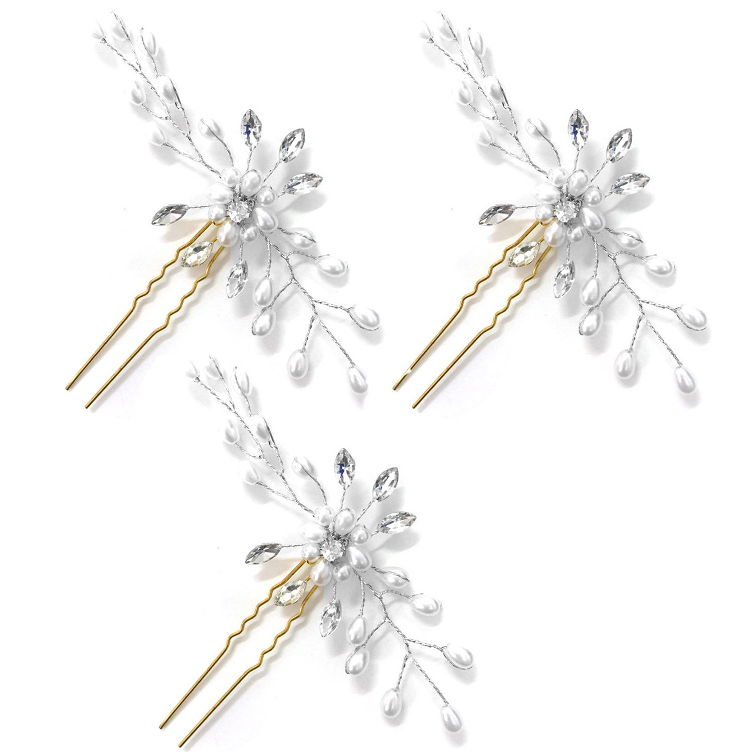 Gosear 3 PCS Women Wedding Bridal Bridesmaid Flower Style Hair Pins Clips with Shiny Imitation Pearl for Anniversary Party Dating Wedding