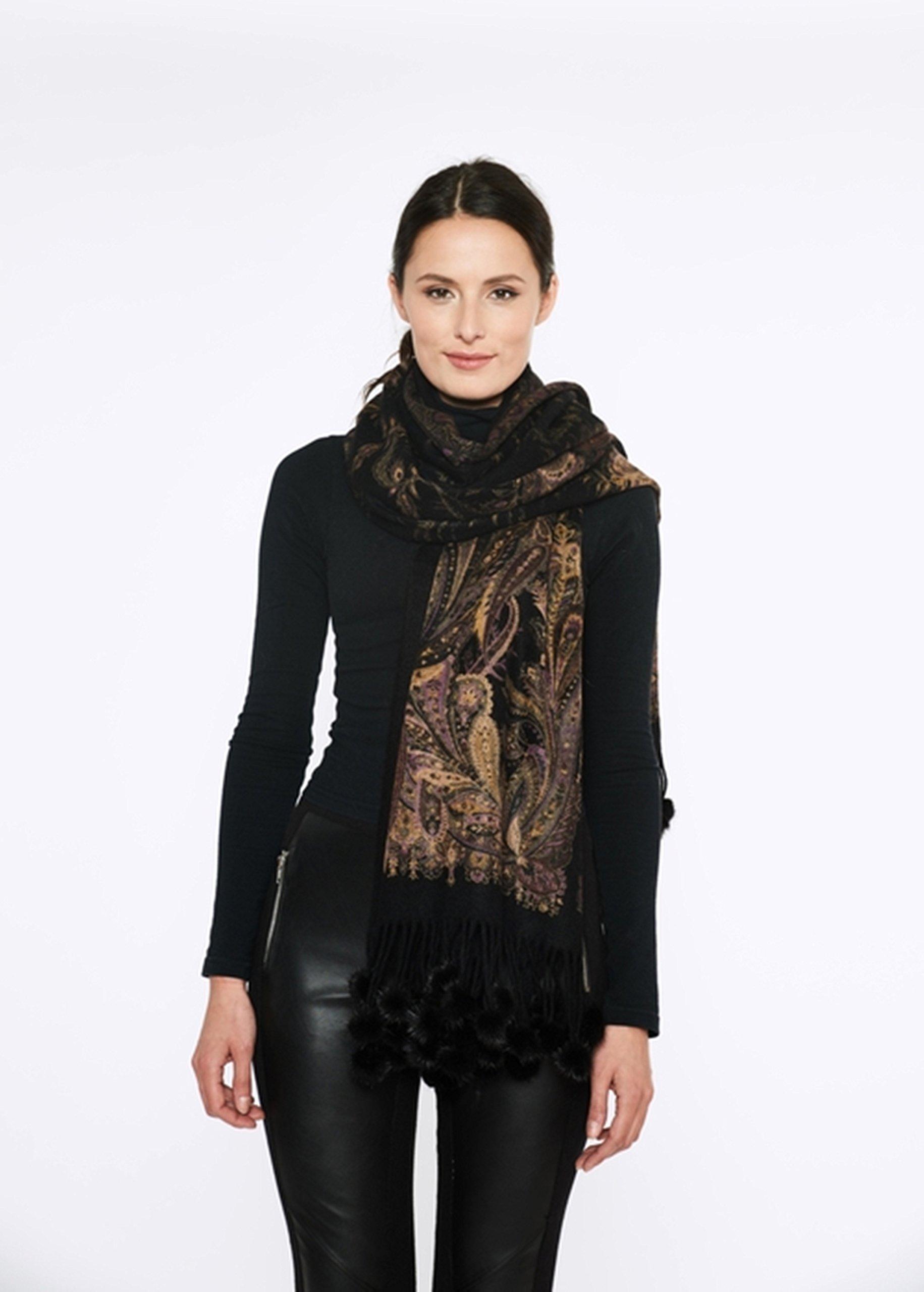 Cashmere Pashmina Group-Cashmere Shawl Scarf Wrap Stole (Solid/ Reversible Print w/ Genuine Fur) - Mink Black by Cashmere Pashmina Group (Image #2)