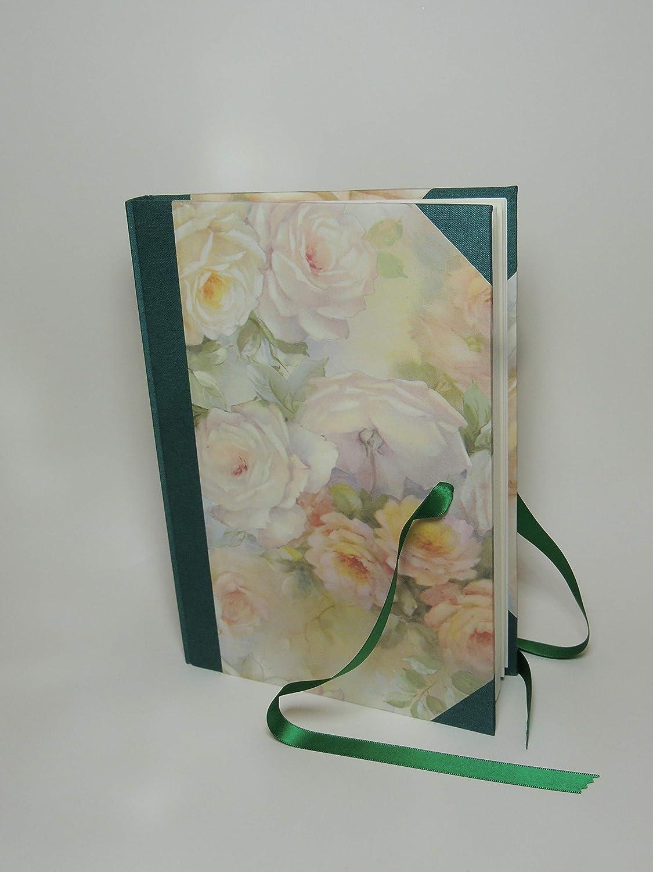 Libro degli Ospiti artigianale - Formato 17 x 24 - Rose tenui