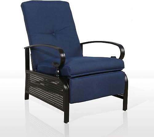 Iwicker Patio Outdoor Adjustable Recliner Chair