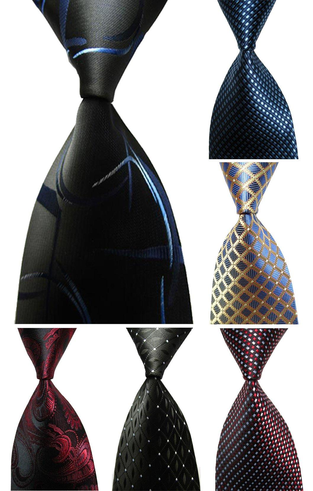 Wehug Lot 6 PCS Men's Ties 100% Silk Tie Woven Necktie Jacquard Neck Ties style003