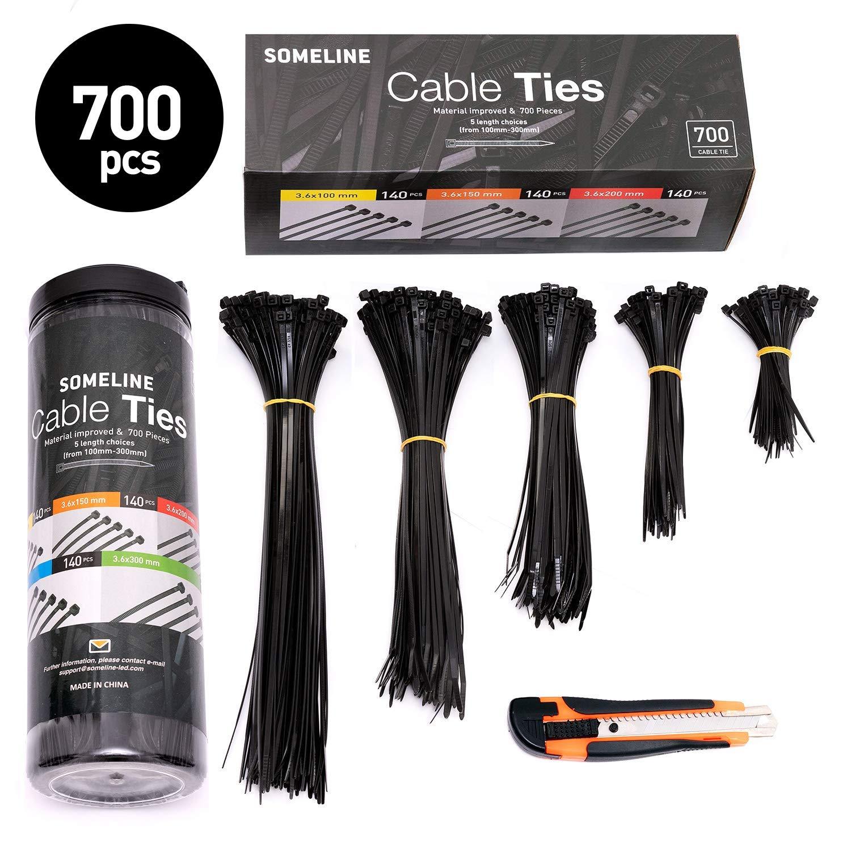 300 Pcs Nylon Cable Self-locking Zip Ties Set 3*100 3*150 4*200