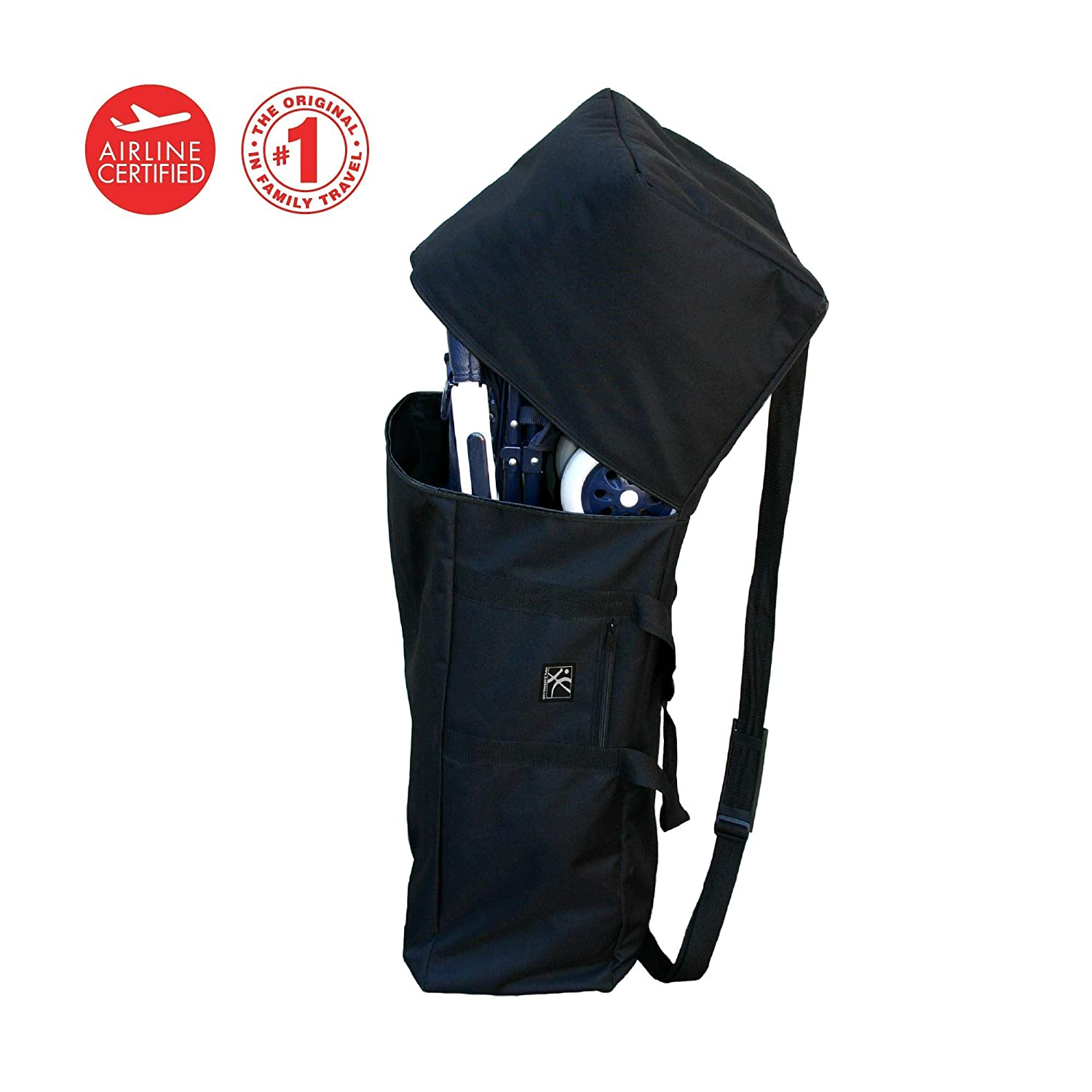 J.L. Childress Padded Umbrella Stroller Travel Bag, Durable and Lightweight, Water-Resistant, Gate Check, Includes ID Pocket and ID Card, Detachable Padded Shoulder Strap, Black