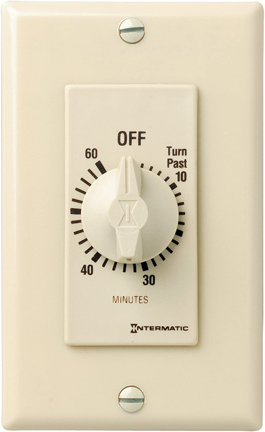 Intermatic FD460M 60-Minute Spring-Loaded Wall Timer for Lights and Fans, Ivory