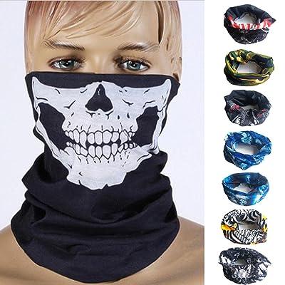 (8PCS ensemble)Dulcii Multi-fonction Serviette mouchoir de tête en motif de crâne Echarpe extensible respirant sans couture pour moto vélo randonnée ski snowboard etc. 25cm x 25cm±1cm (8 coule