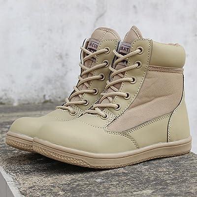 RDJM Botte enfant lacets moto Boot High Leg Desert bottes de chasse chaussures de randonnée chaussures Casual chaussures Mountaineer chaussures