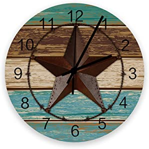 Edwiinsa No-Ticking 12 Inch Silent Wooden Round Wall Clock Western Texas Star, Battery Operated Home Decor Kitchen Bathroom Clock Teal Brown Wooden Board