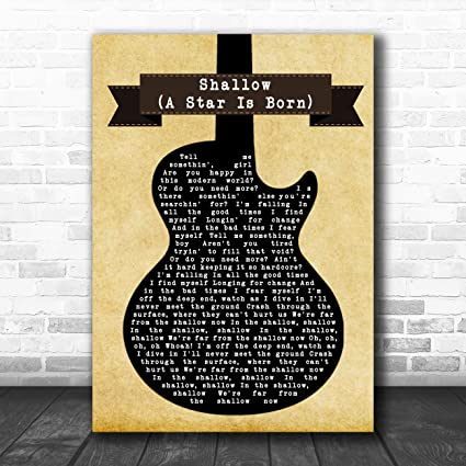 Shallow (una estrella es nacida) canción de guitarra con impresión ...