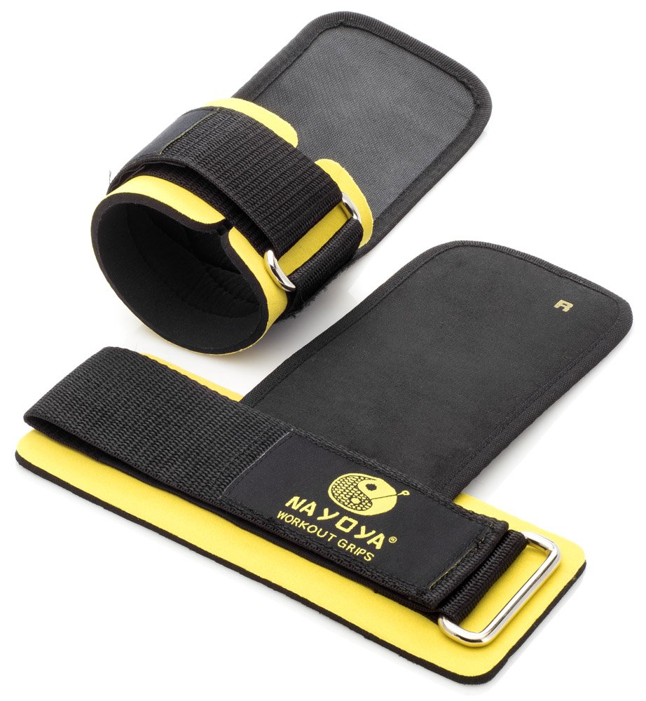 Nayoya Weight Lifting Straps - With Built in Adjustable Wrist Support Wrap and Palm Protecting Grip Pads Nayoya Wellness