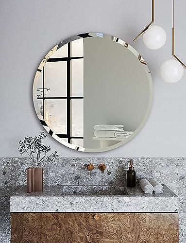 Frameless Round Bathroom Mirror – 24 Beveled Polished Round Mirror for Bathroom