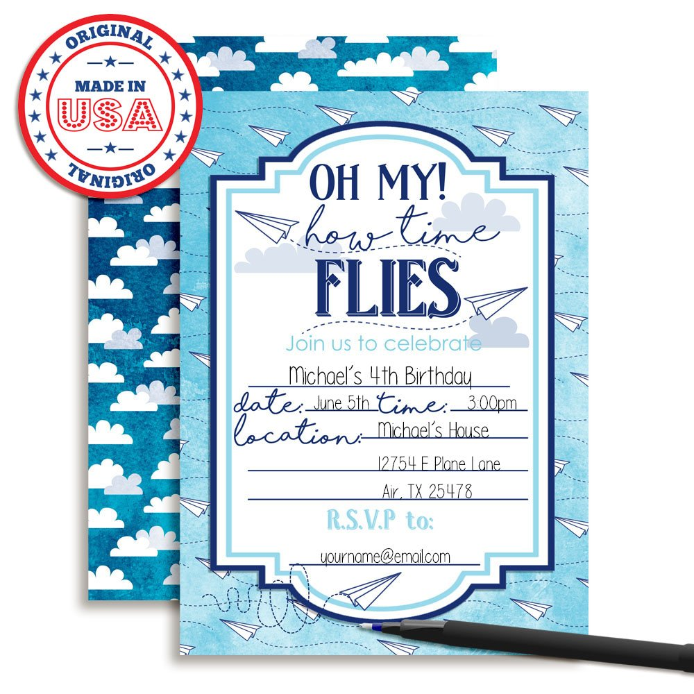 Amazon.com: Paper Airplane Time Flies Themed Birthday Party ...