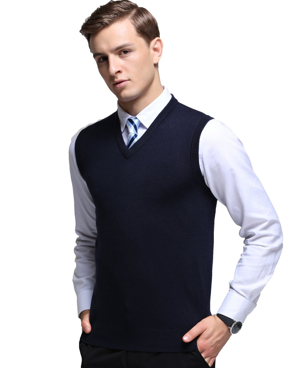Kinlonsair Mens Casual Slim Fit Solid Lightweight V-Neck Sweater Vest,Blue,Small (US)