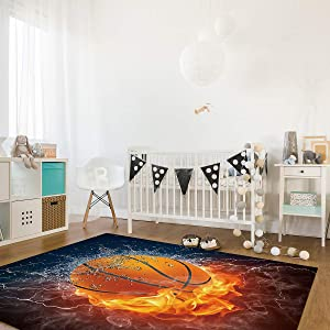 Soft Indoor Area Rugs 3' x 5' Rectangle with Non-Skid Rubber Backing, Living Room Carpets Suitable for Bedroom Home Decor Nursery Rugs Pads Basketball Ball on Fire and Water