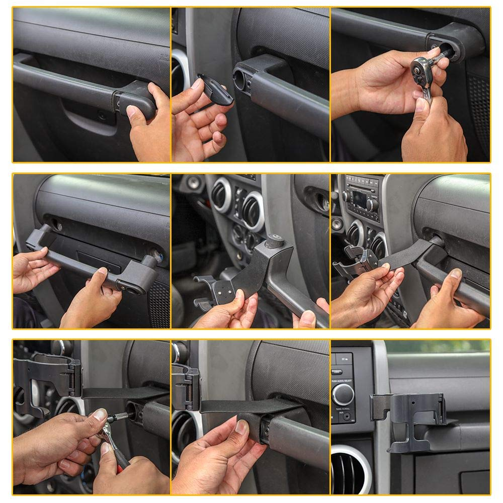 Passenger Grab Handle Storage Tray Organizer for 2011-2018 Jeep Wrangler JK JKU JeCar for Jeep Phone Mount Drink Cup Holder