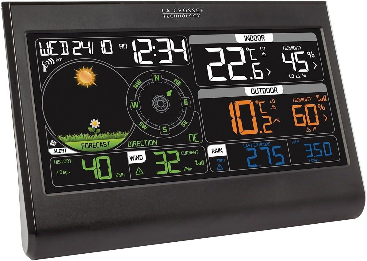 Stazione meteorologica Semi-Professionale 19,3 x 2,2 x 13,3 cm Colore: Nero La Crosse Technology WS6868BLA-SIL