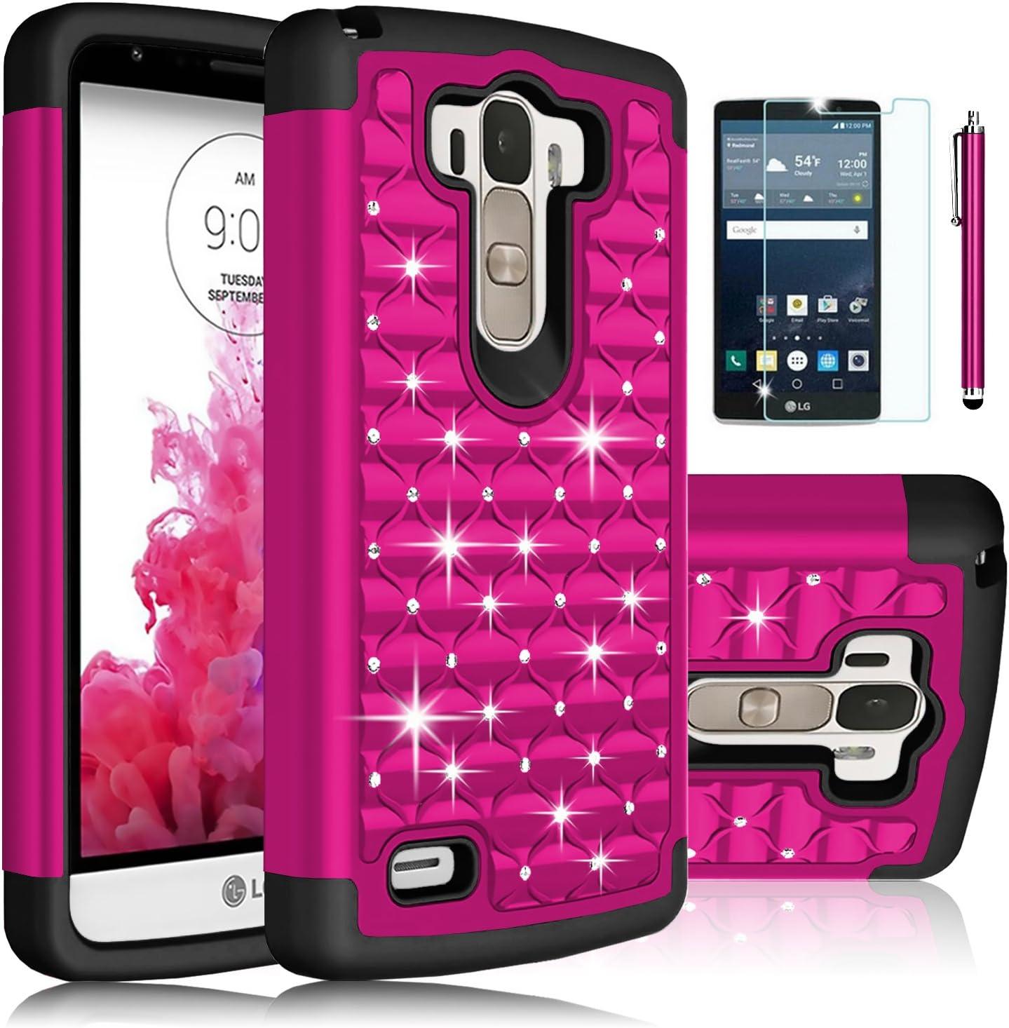 LG G Stylo Case,EC™ Hybrid Studded Rhinestone Crystal Bling Armor Case Cover for LG G4 Stylus /LG LS770 / LG G Stylo (T-Mobile/Boost Mobile/Sprint) (Hot Pink)