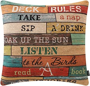 TRENDIN Wooden Plank Deck Rules Throw Pillow Cover 18x18 inch Deck Decor Cotton Linen Cushion Case for Sofa Couch PL505TR