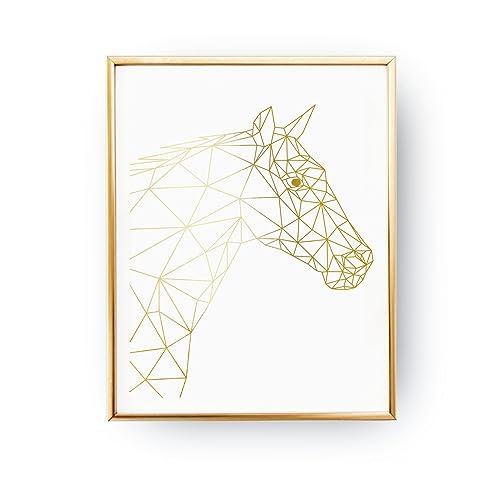 Amazon Com Horse Torso Print Real Gold Foil Print Geometric Horse