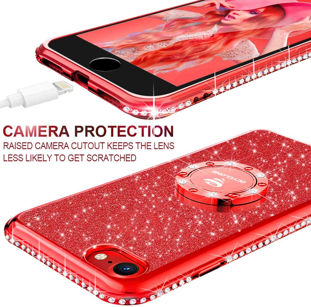 Brillante Cover Protectora para iPhone SE 2020 Negro Glitter Dimante Ultra Delgada TPU Carcasa con Anillo Kickstand de 360 y Cordon OCYCLONE Funda iPhone SE 2020 4.7