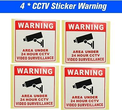 OWSOO 4pcs Cartel Alarma Impermeable 80 80MM Se/ñales de Seguridad Pegatinas de Advertencia para Monitoreo de C/ámara CCTV de 24 Horas
