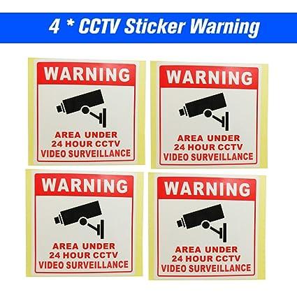 OWSOO 4pcs Cartel Alarma Impermeable PVC CCTV Señales de Seguridad Pegatinas de Advertencia para Monitoreo de
