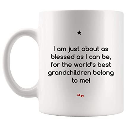 Amazoncom Blessed Grandchildren Belong Mom Dad Mug Gift For Best